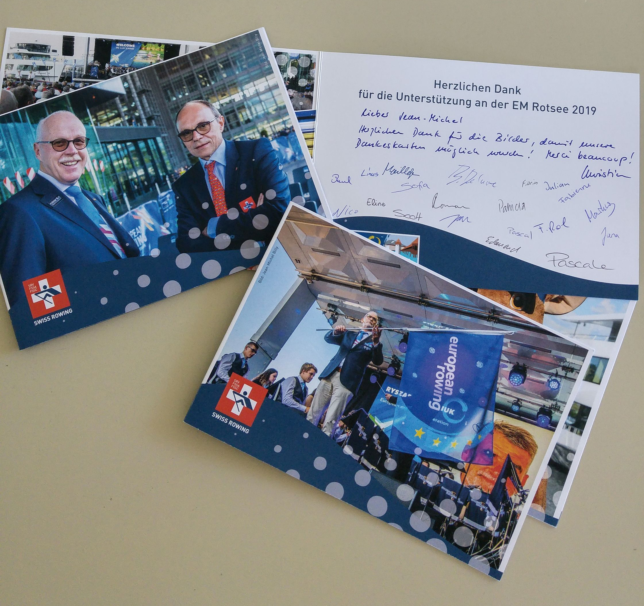 Greeting cards from Swiss Rowing ERC2019
